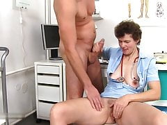 Dr. Erma at work does not wear panties