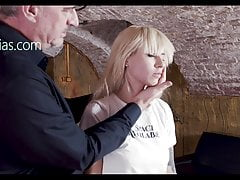 Blonde whore spanked and slapped